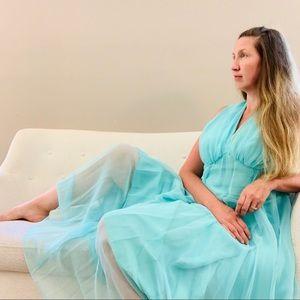 Vintage 1970s Aqua Chiffon Gown